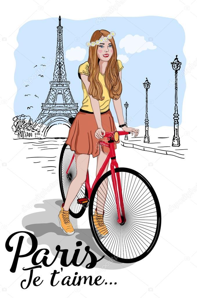 Открытки с девушкой на велосипеде