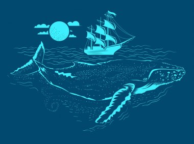 Whale Illustration under the water. Small ship above