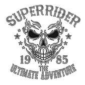 Vintage Biker Totenkopf mit Flügeln und Emblem