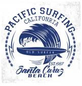 Surf typografie, grafické t-shirt