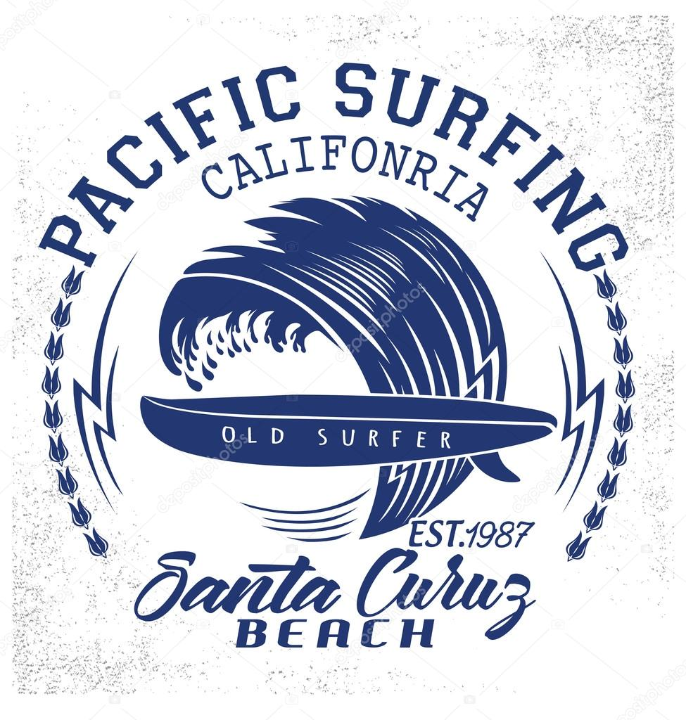 Surf typography, t-shirt graphics