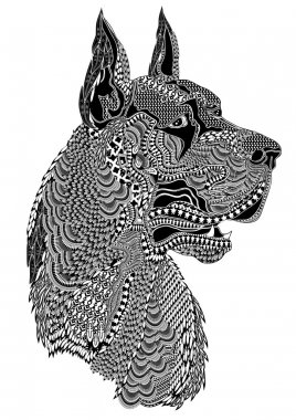 Highly detailed abstract dog illustration