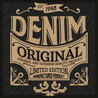 Vintage denim typography