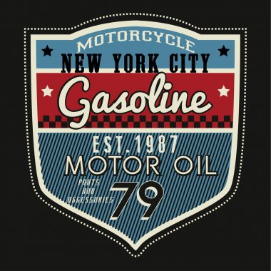 Vintage motorcycle embroidery typography