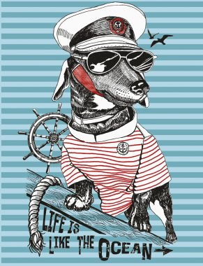 Illustration of bulldog sailor