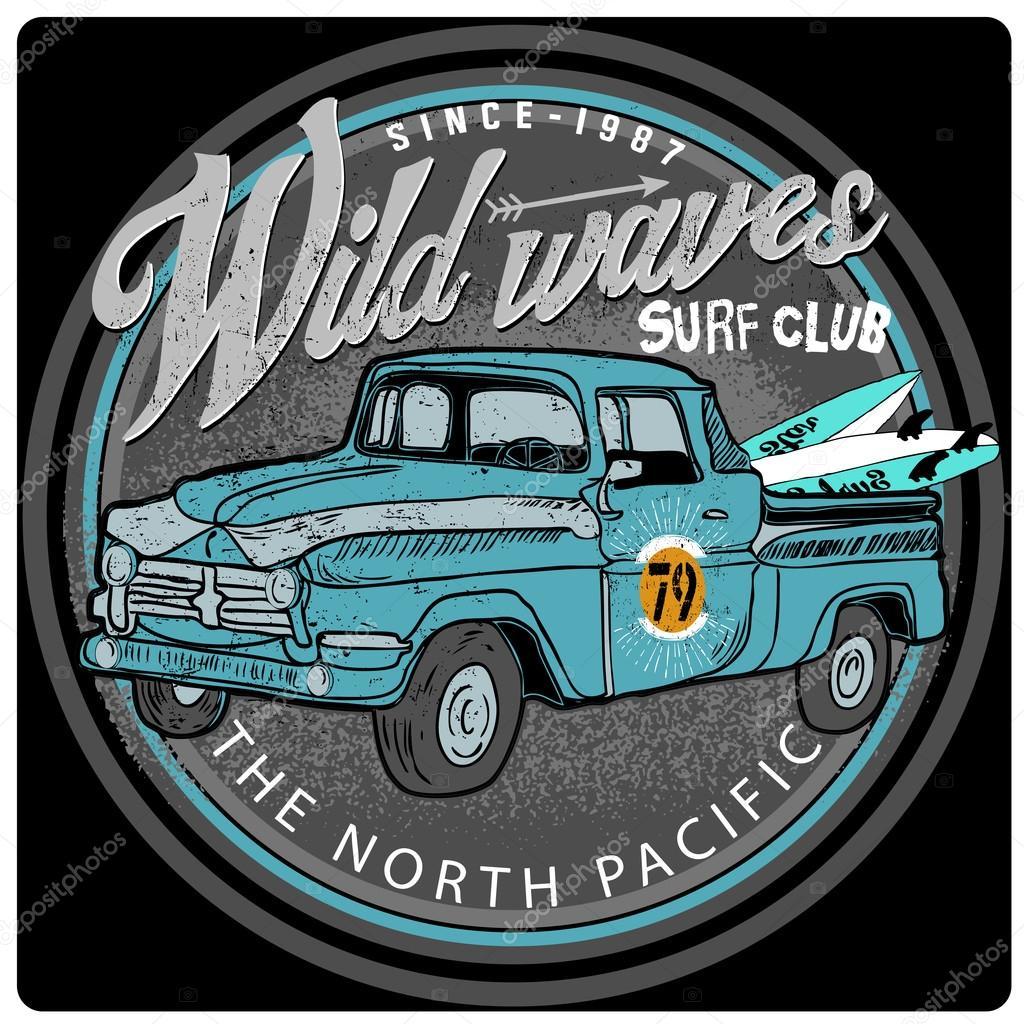 Blue Van Surf Illustration