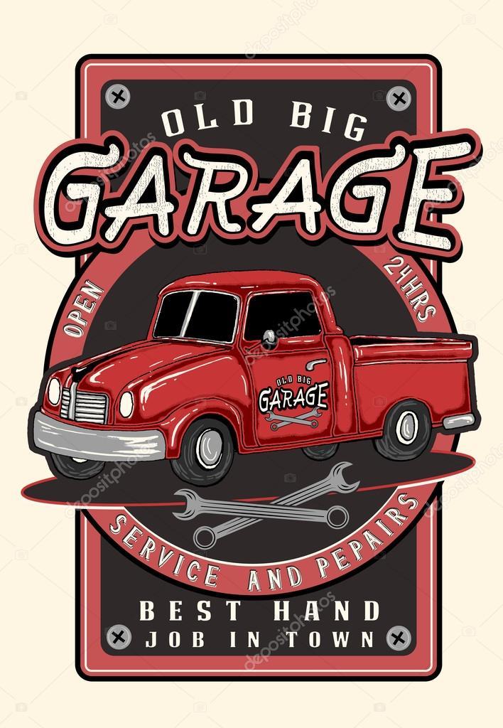 vintage garage retro poster � stock vector 169 vecture 97363230