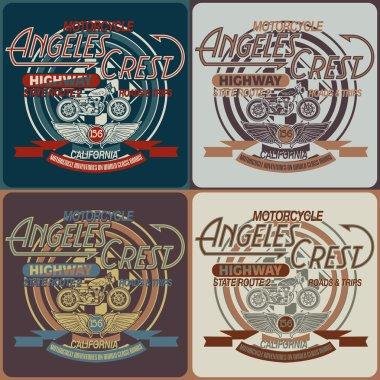 Vintage motorcycle California typography