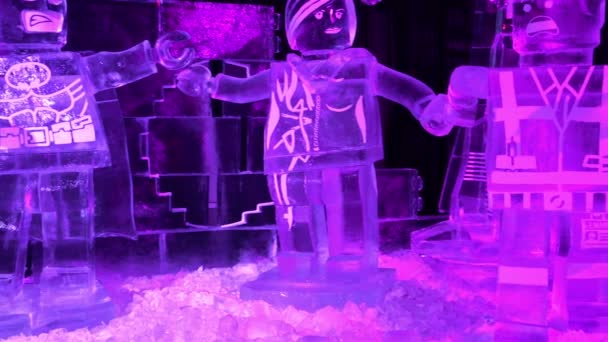 Russia, Saint-Petersburg, December 27, 2015 cartoon characters made of ice is on the exhibits