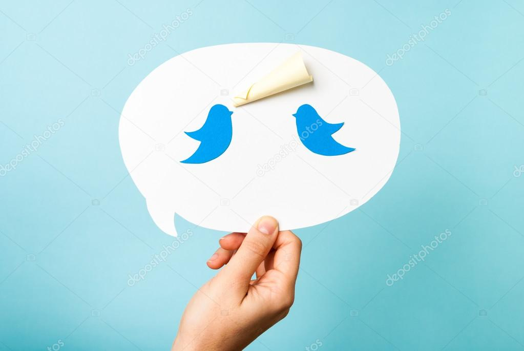 Blue bird on speech bubble