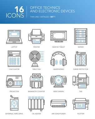 Detailed thin line icons. Office technics and electronic devices. Set 1