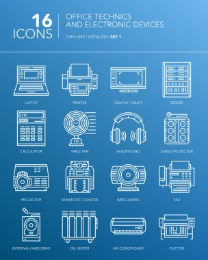 Detailed thin white line icons. Office technics and electronic devices. Set 1