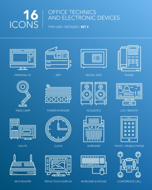 Detailed thin white line icons. Office technics and electronic devices. Set 2