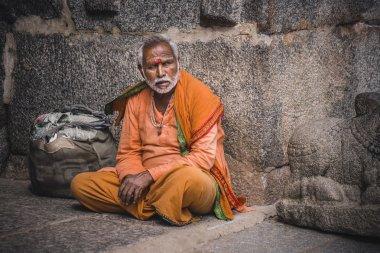 Hindu sadhu holy man in orange robe