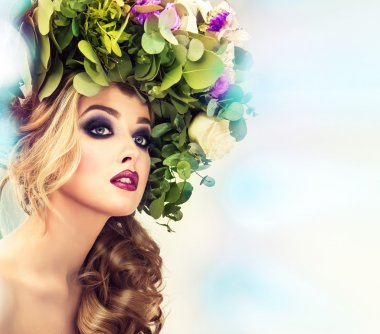 Beautiful female with floral wreath
