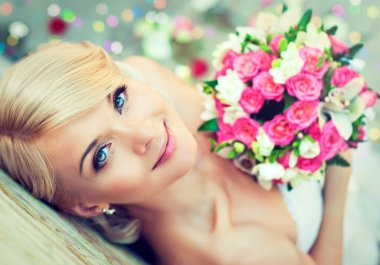 Beautiful with bouquet of flowers