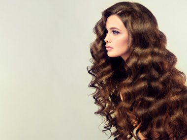 woman with long healthy curly hair