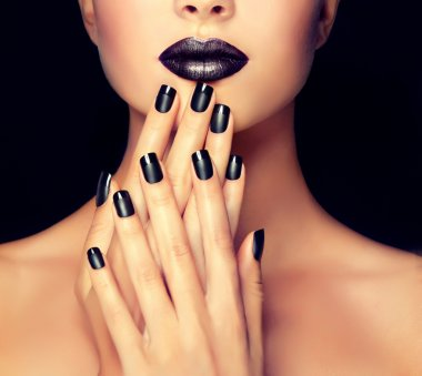 Beautiful girl showing black manicure nails. Makeup and cosmetics stock vector