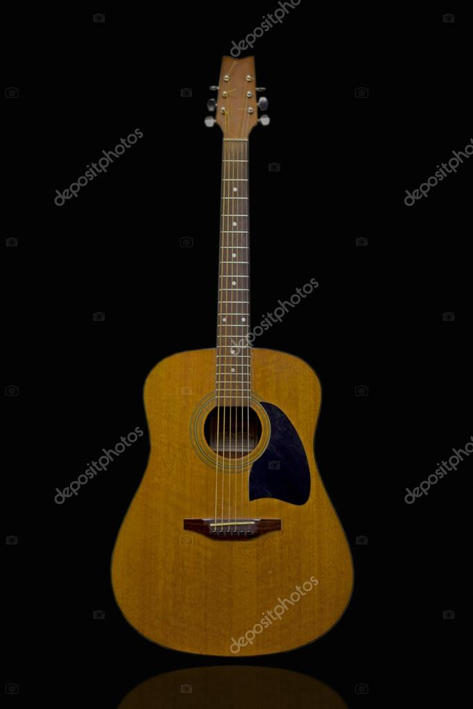 Acoustic Guitar With Black Background Stock Photo C Yucelozelrgt42