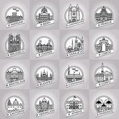 Fényképek vektor line Varsó, bern, luxembourg, Prága, Brüsszel, Zágráb