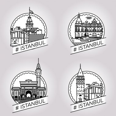 vector line Istanbul historical building badge set