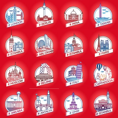 Vector line city and country historical building badge set