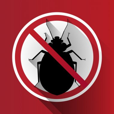 vector long shadow silhouette bed bug sign