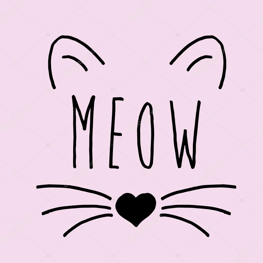 Cat on a pink background Cat print cat graphic cat illustration