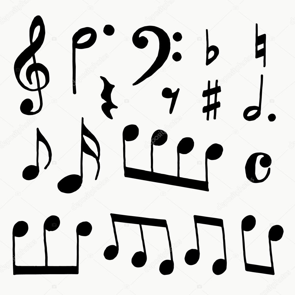 notes on a white background notes collection musical notes rh depositphotos com music notes logo vector free download music notes vector art