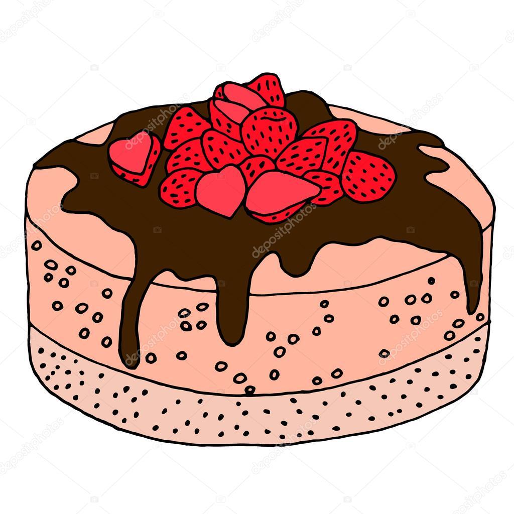 cake with strawberries icon cake vector cake illustration cake