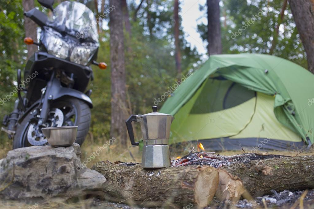 camping in the woods. Perfect Woods Camping In The Woods With A Tent And Motorcycle On In The Woods L