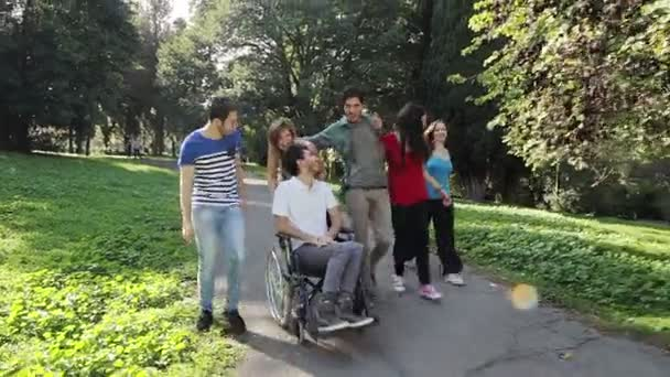 Handicapped man  with his friends