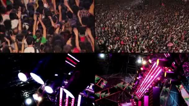 Zusammensetzung-Rock-Konzert: das Publikum, der Gitarrist und Beleuchtung