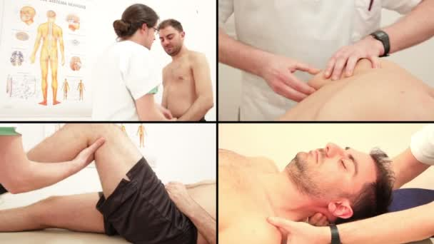 Physiotherapist examing patients