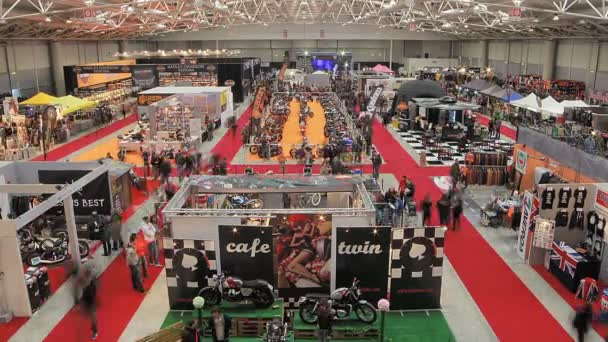 stands during a motorcycle exhibition