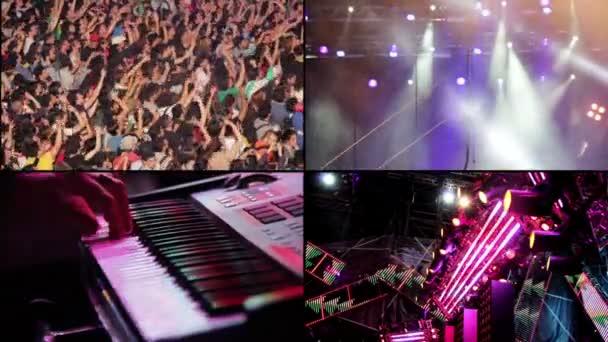 složení rockový koncert: dav, kytarista a klavírista