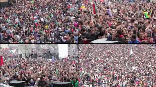 Multiscreen z davu na koncert Řím, Itálie, 1 květen, 2015