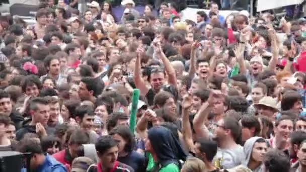 close up on large crowd of people during the concert
