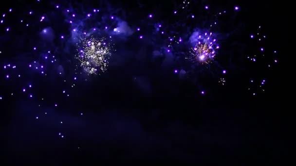 barevný ohňostroj na noční obloze