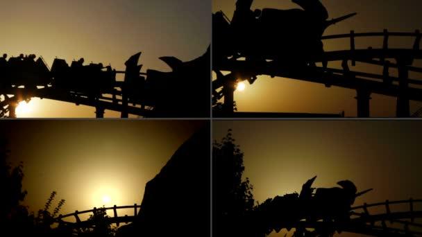 Multiscreen horská dráha na západ slunce