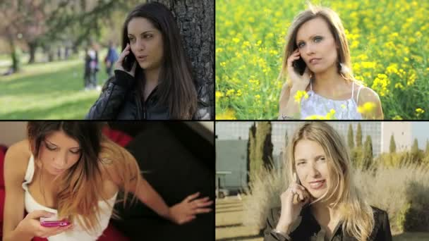 montage: women using smartphones or mobile phones