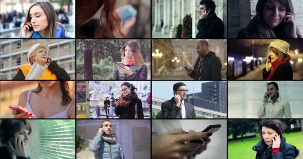 Junge und ältere Menschen mit Handy. 4 k-Filmmaterial