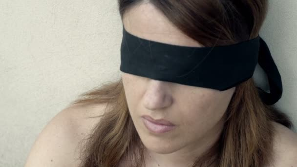 Young Blindfolded Woman Stock Video Videodream 100382338