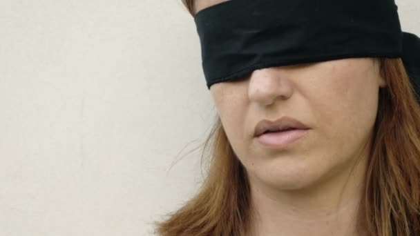 Young Blindfolded Woman Stock Video Videodream 100382414