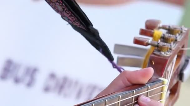 play chords on acoustic guitar — Stock Video © videodream #100385356