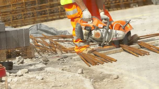 power saw in use in a construction site