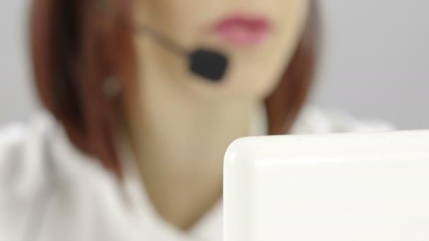 Female receptionist working