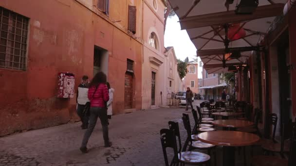 Typical street in Rome, Italy. Colorful buildings. Trastevere