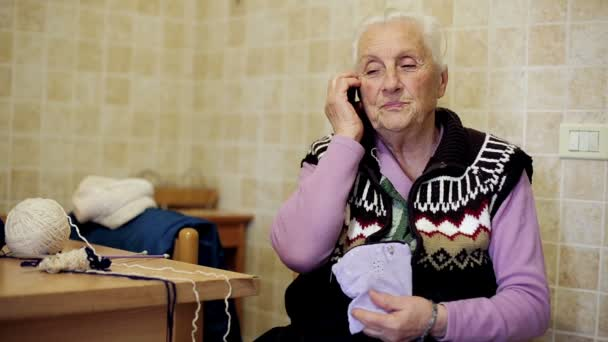old lady is using mobile phone: aged, grandmother, ancient, call
