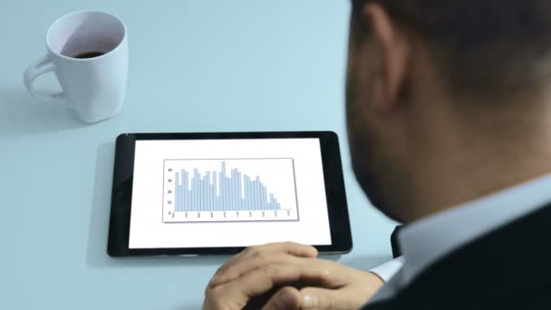 businessman viewing financial charts on a tablet computer